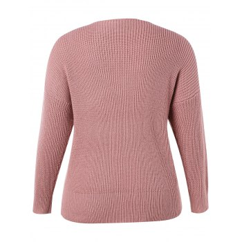 Plus Size Slim Fit Ribbed Panel Sweater - LIPSTICK PINK 4X