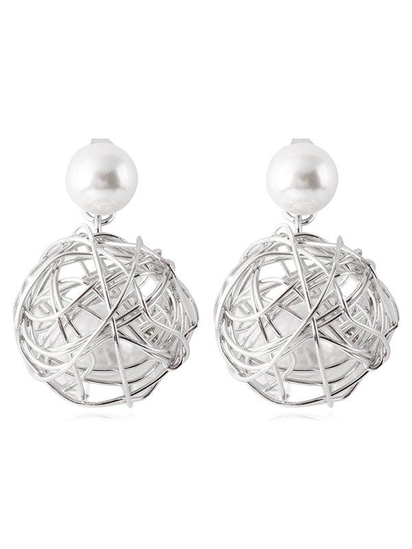 Stylish Alloy Wire Ball Decorative Drop Earrings - WHITE