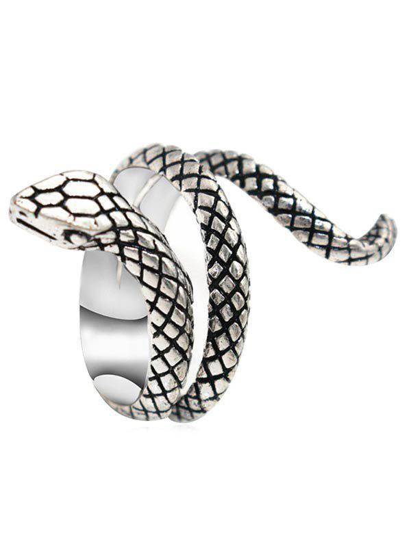 Carved Snake Metal Biker Ring - SILVER US 8