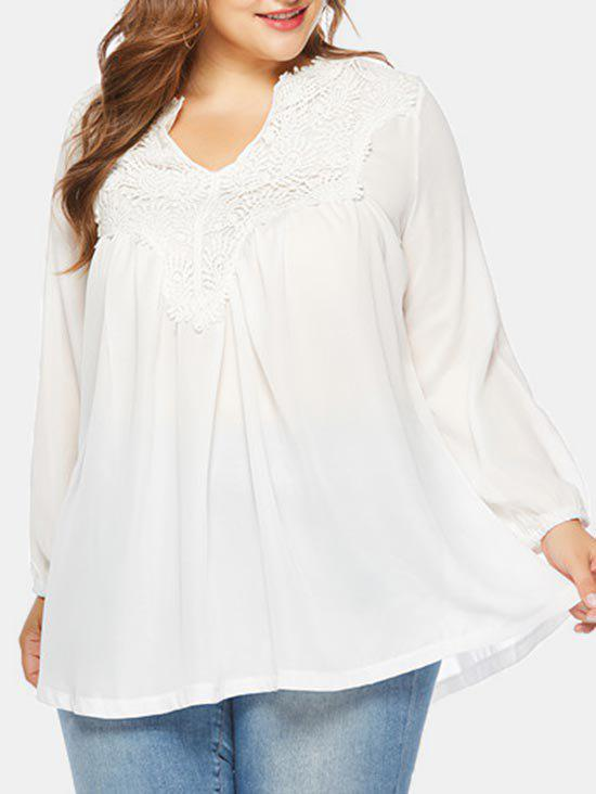 Long Sleeve Applique Plus Size Blouse - WHITE 2X