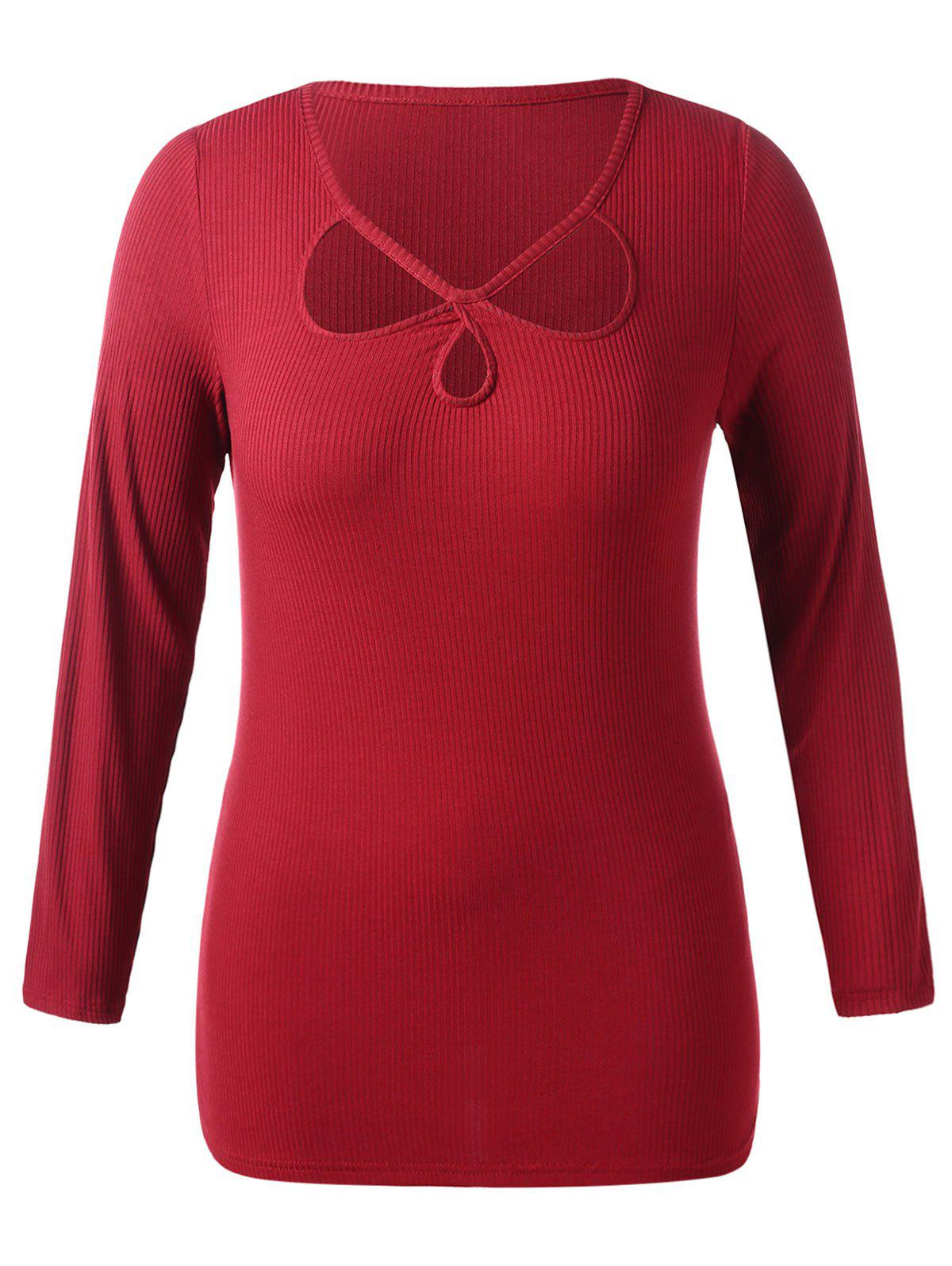 Plus Size Cut Out Long Sleeve Ribbed T-shirt - RED 1X