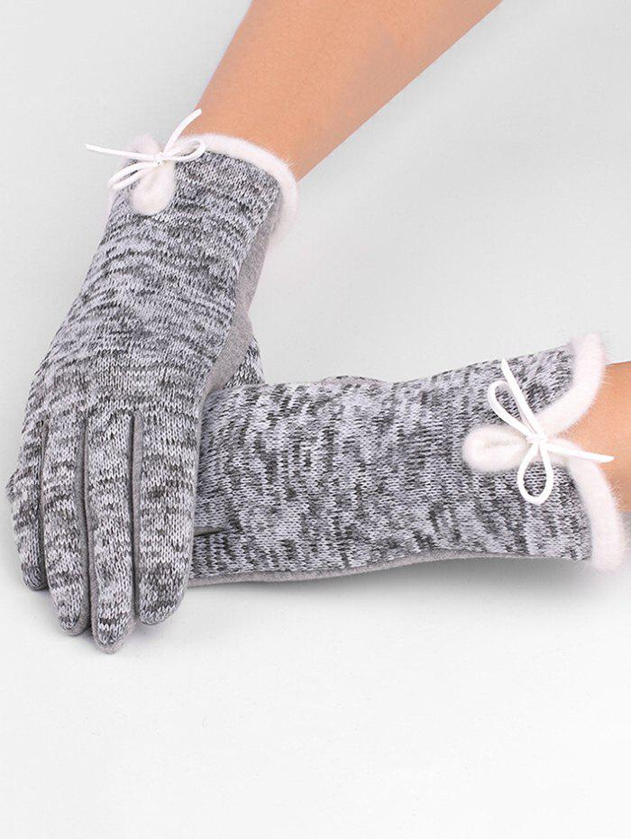 Outdoor Bowknot Thicken Winter Gloves - GRAY CLOUD