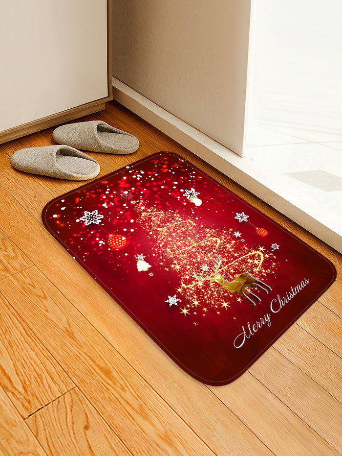 Christmas Snowflake Deer Print Decorative Flannel Floor Mat - RED W20 X L31.5 INCH