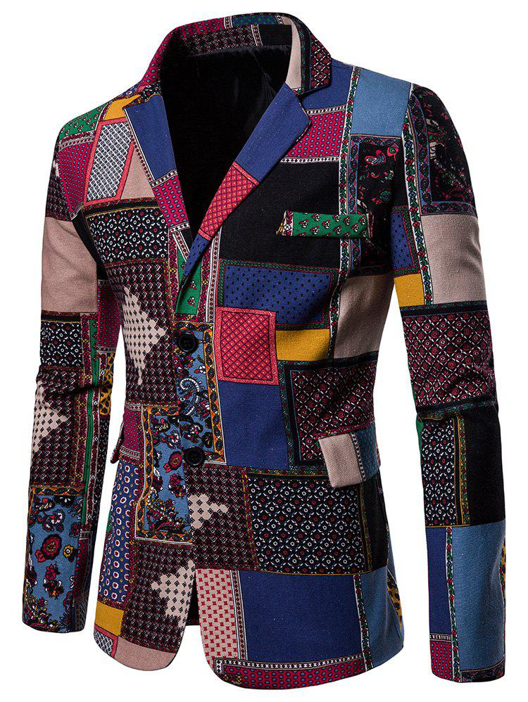 Blazer Fendu an Dos avec Simple Boutonnage - multicolor M
