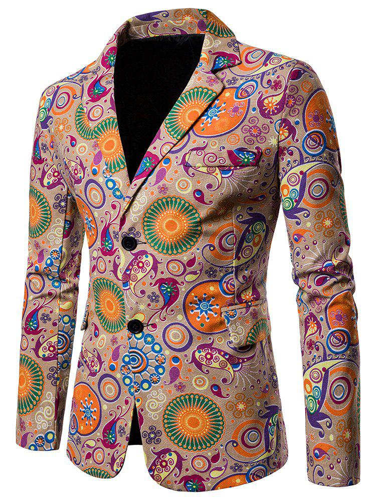 Ethnic Style Print Two Buttons Pockets Blazer - TAN L
