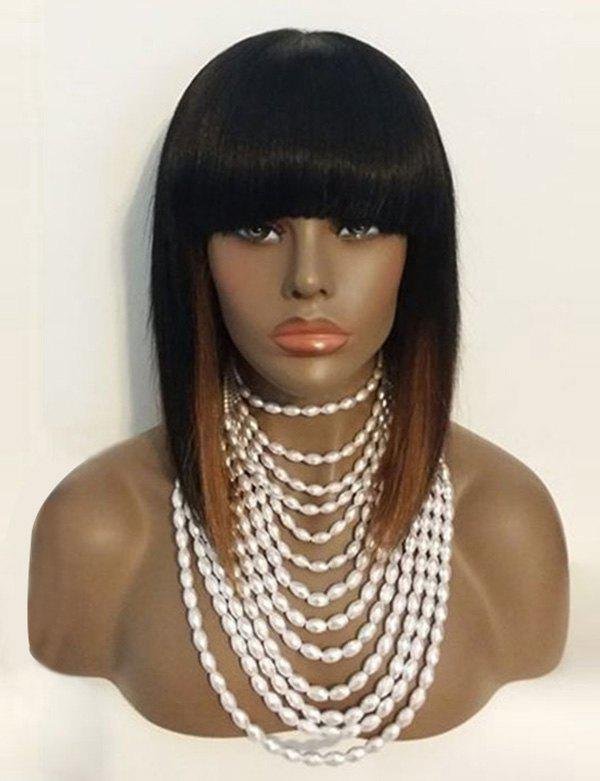 Medium Full Bang Straight Colormix Synthetic Wig - multicolor
