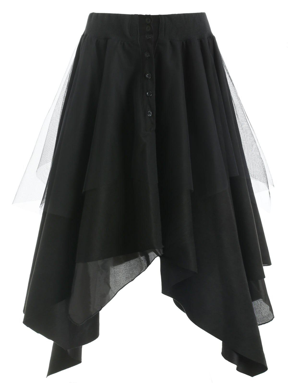 Mesh Panel Faux Suede Long Handkerchief Skirt - BLACK XL