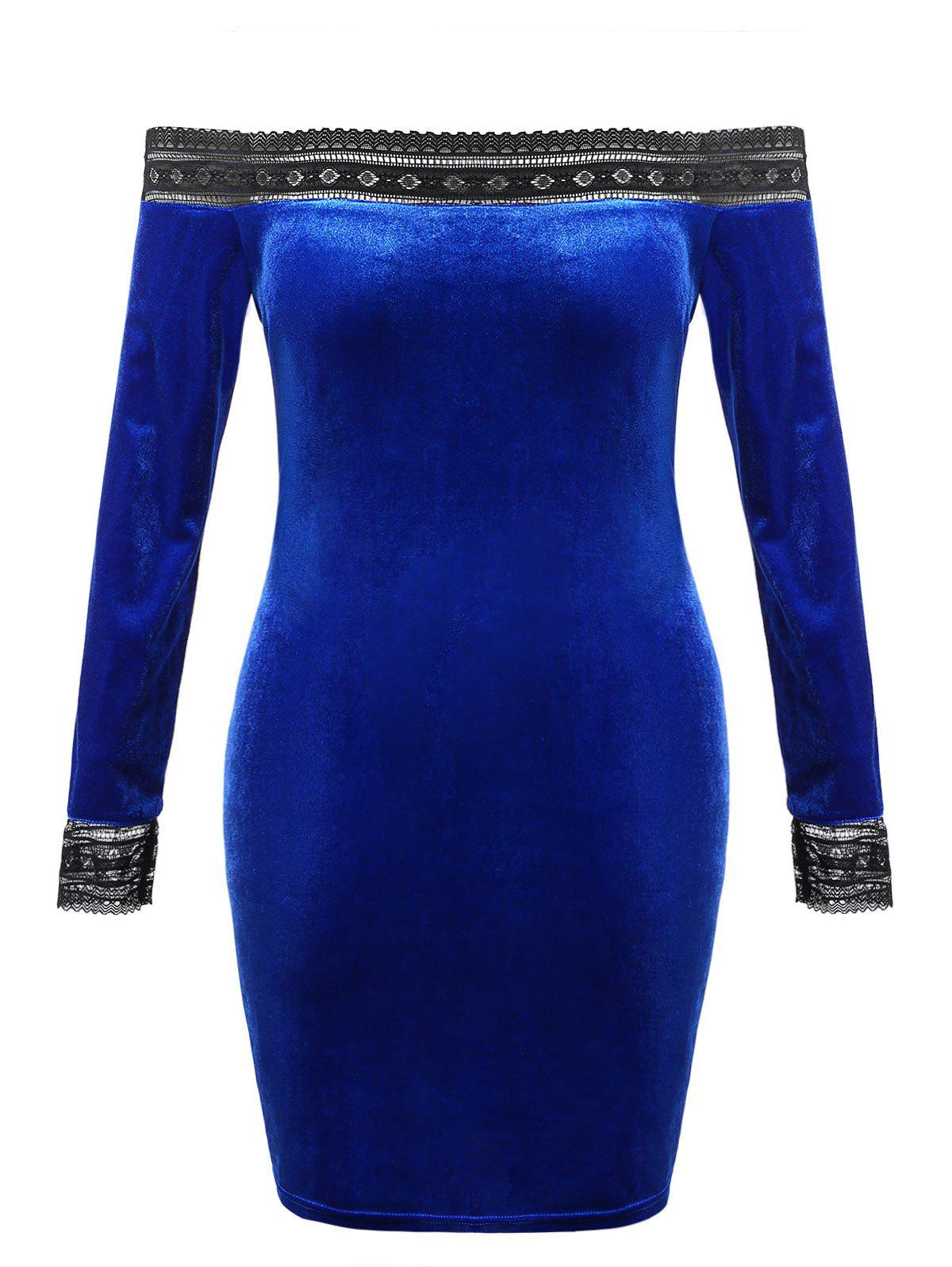 Plus Size Off Shoulder Velvet Bodycon Dress - ROYAL BLUE 5X