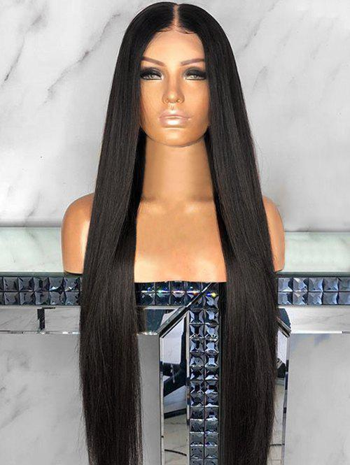 Center Parting Capless Straight Long Synthetic Wig - BLACK