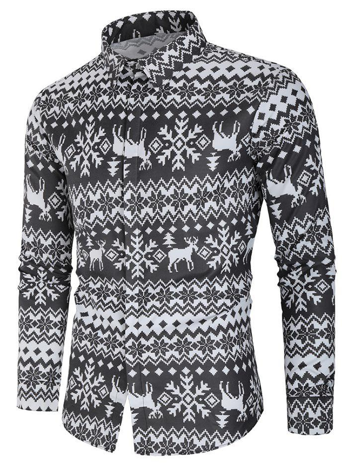 Button Up Christmas Deer Print Shirt - multicolor L