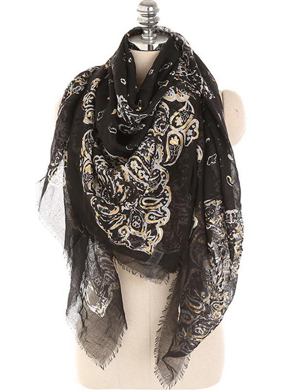 Floral Fringed Elegant Warm Scarf - BLACK
