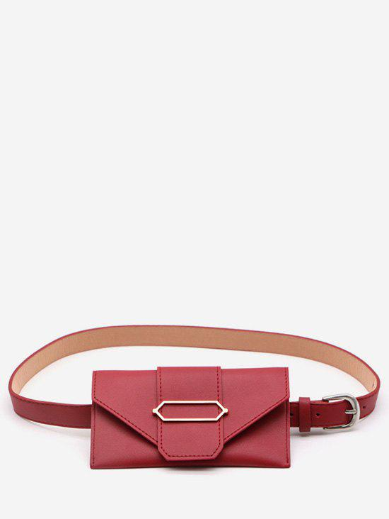 Geometric Metal PU Leather Waist Bag - LAVA RED