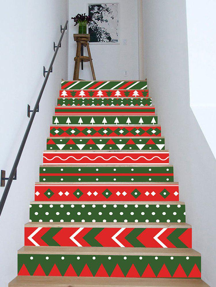 Christmas Color Block Pattern Stair Stickers - multicolor