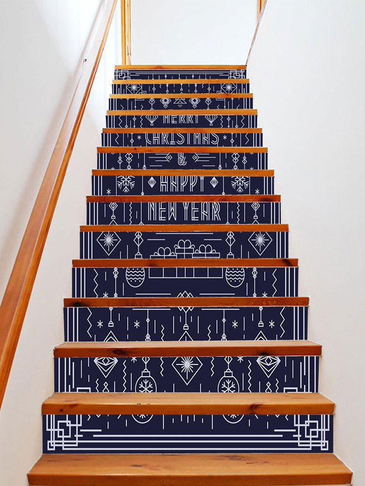 Christmas Happy New Year Pattern Removable Stair Stickers - multicolor