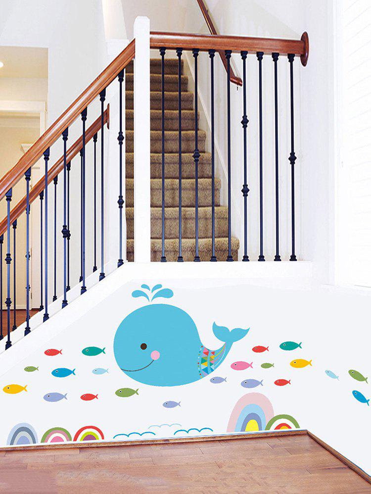 Whale Fish Print Removable Wall Sticker - multicolor