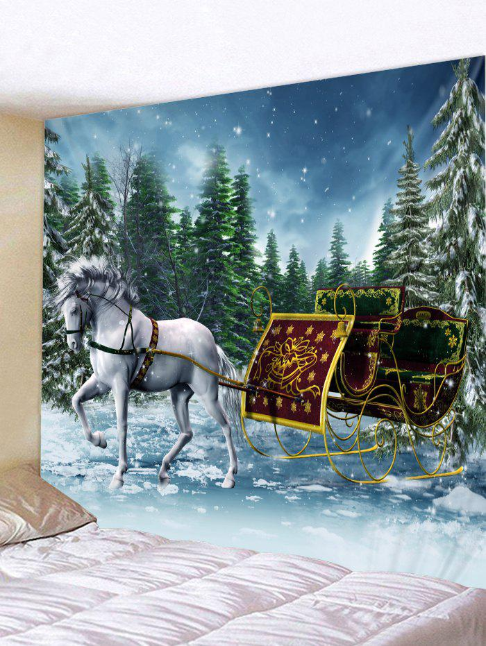 Christmas Sleigh Pattern Wall Tapestry Art Decoration - multicolor W79 X L79 INCH