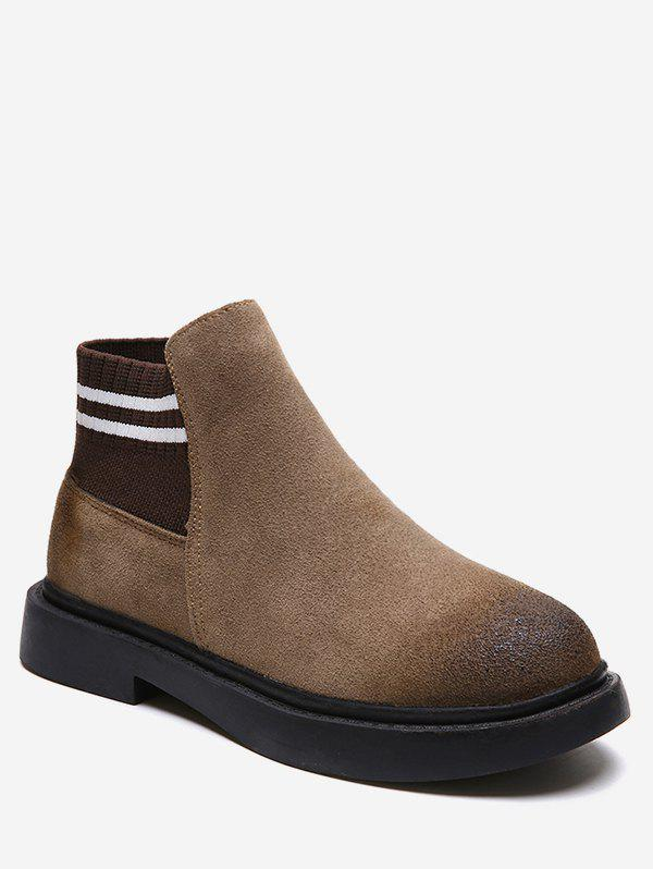 Striped Slip-on Suede Ankle Boots - BROWN EU 36