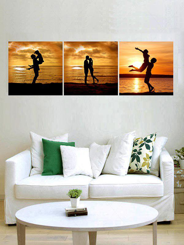 Sunset Lover Print Unframed Canvas Paintings - multicolor 3PCS X 16 X 16 INCH( NO FRAME )