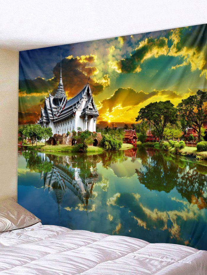 3D Xanadu Scene Pattern Wall Tapestry Art Decoration - multicolor W79 X L79 INCH