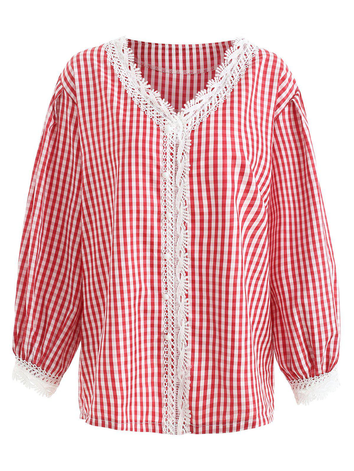 Button Detail Plus Size Gingham Shirt - RED 2X