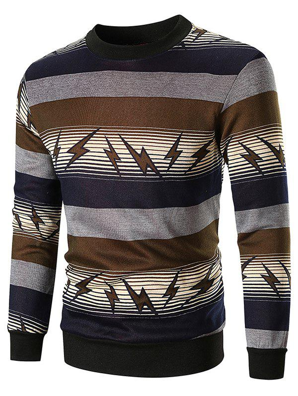 Lightning and Striped Print Sweatshirt - BROWN M