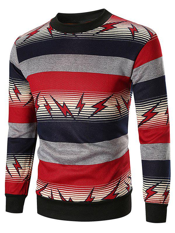 Lightning and Striped Print Sweatshirt - RED WINE XL