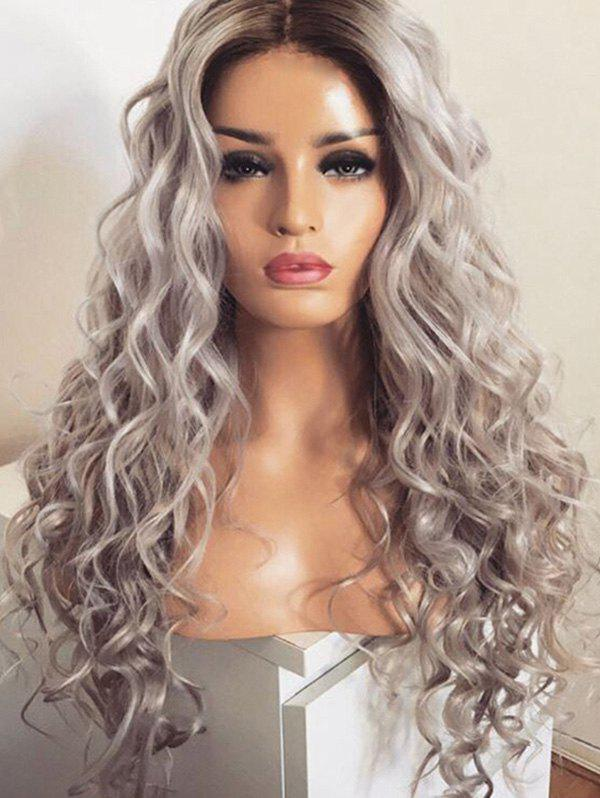 Middle Part Long Loose Wave Colormix Synthetic Wig - multicolor