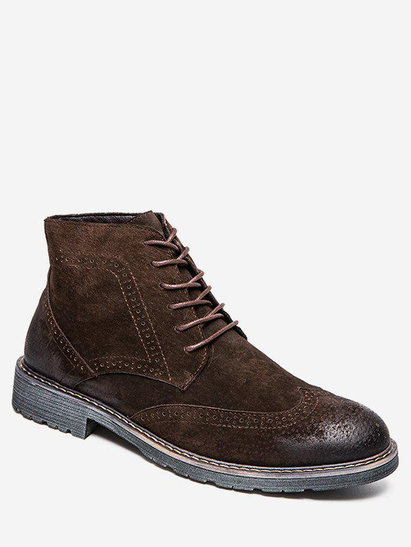 Vintage Lace Up Wing Tip Boots - BROWN EU 39