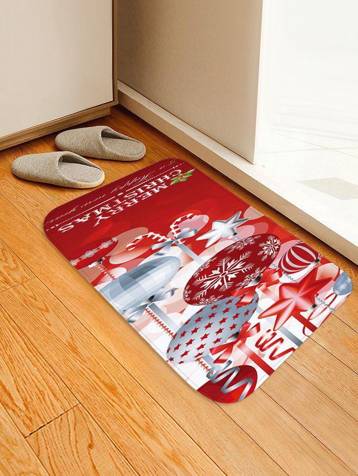 Christmas Snowflake Print Non-slip Flannel Floor Mat - RED W16 X L24 INCH