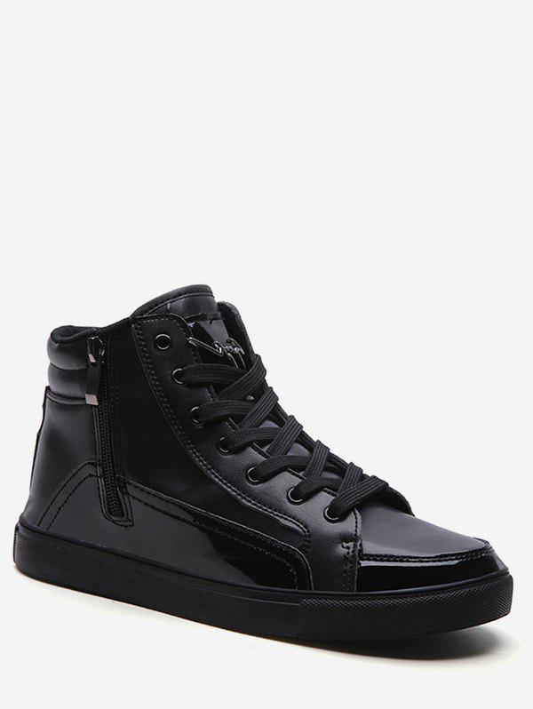 Leisure High Top Flat Sneakers - BLACK EU 42