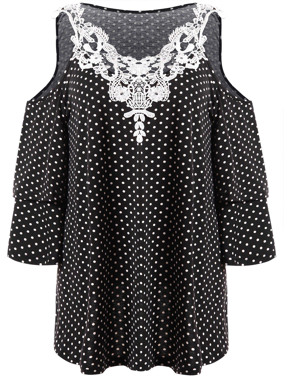 Plus Size Polka Dot Open Shoulder Top