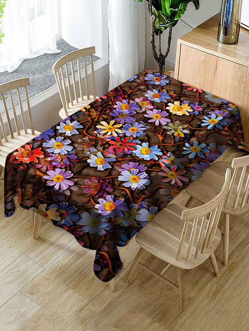 Flowers Print Waterproof Tablecloth - multicolor W54 X L72 INCH