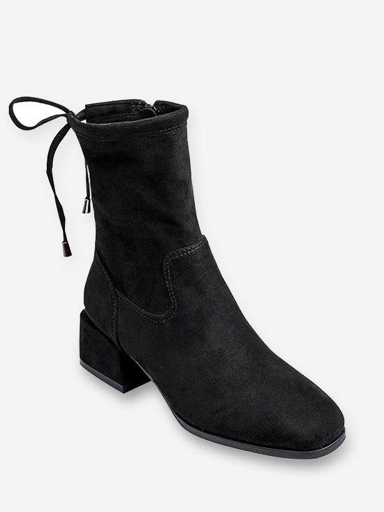 Block Heel Drawstring Short Boots - BLACK EU 37