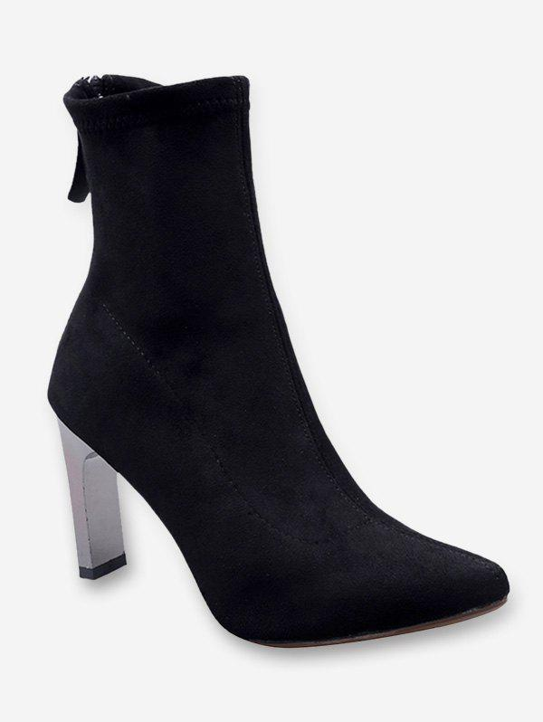 Chunky Heel Pointed Toe Suede Ankle Boots - BLACK EU 39