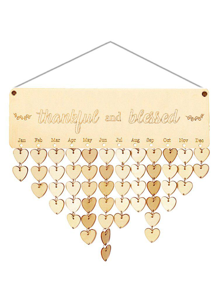 Wooden Thankful and Blessed Calendar Reminder - BURLYWOOD HEART