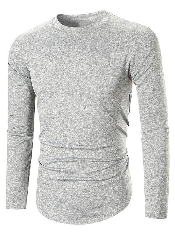Long Sleeve Space Dye Casual T-shirt - LIGHT GRAY 2XL