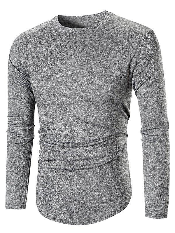 Long Sleeve Space Dye Casual T-shirt - GRAY XL