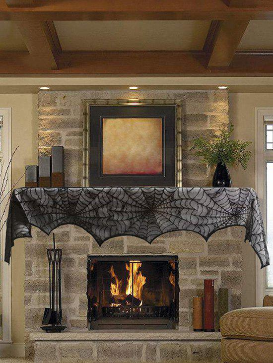 Halloween Spiderweb Lace Fireplace Cloth - BLACK