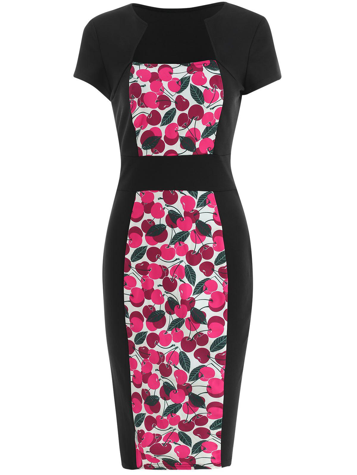High Waist Slim Cherry Print Dress - multicolor M