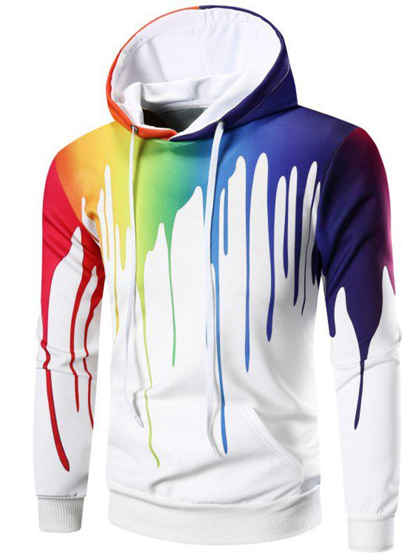 Long Sleeve Rainbow Paint Hoodie - WHITE XL