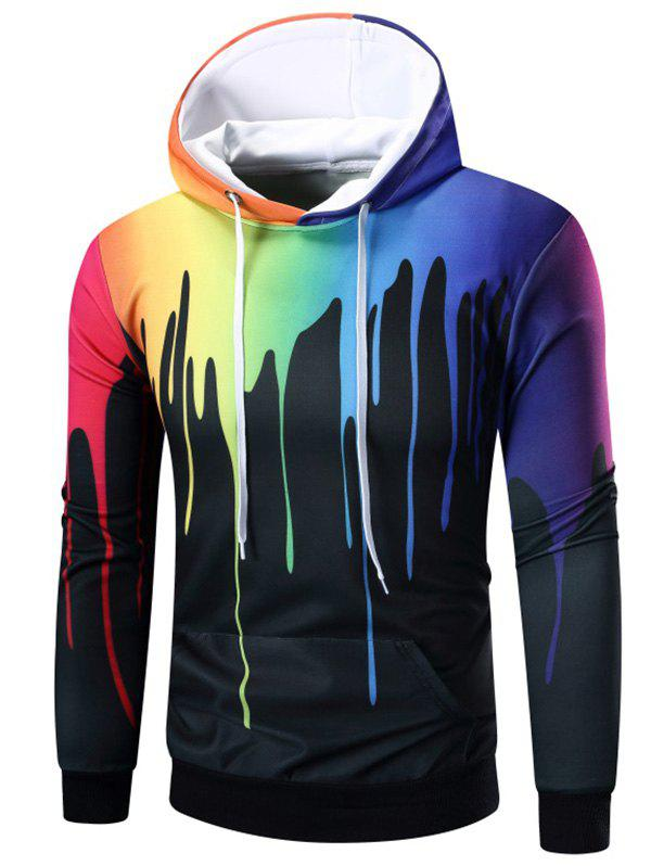 Long Sleeve Rainbow Paint Hoodie - BLACK XL