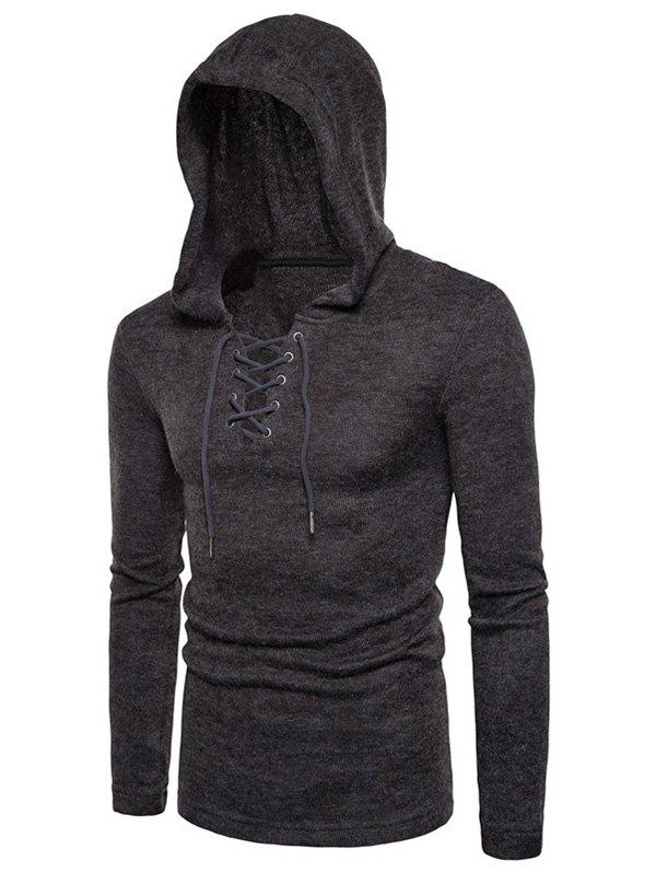 Long Sleeve Lace Up Hooded Sweater - DARK GRAY XL