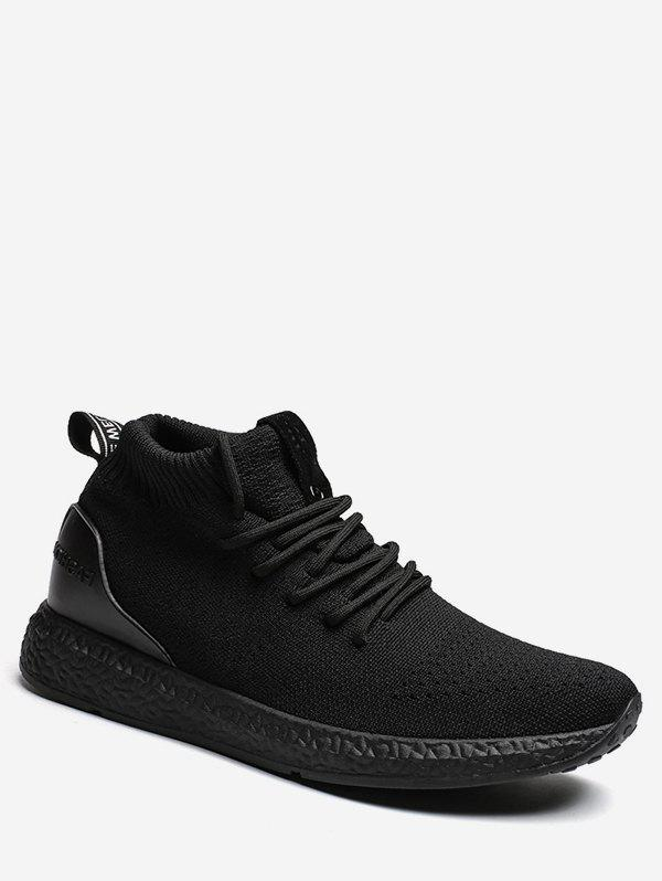 Lace Up Canvas Athletic Sneakers - BLACK EU 42