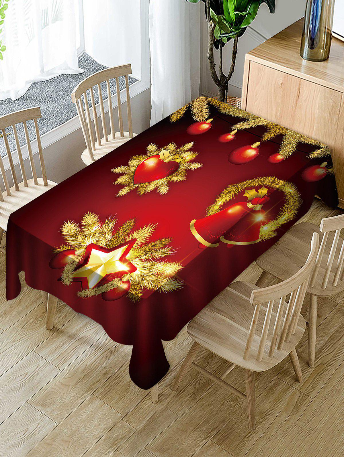 Christmas Balls Bells Print Waterproof Tablecloth - RED WINE W54 X L54 INCH