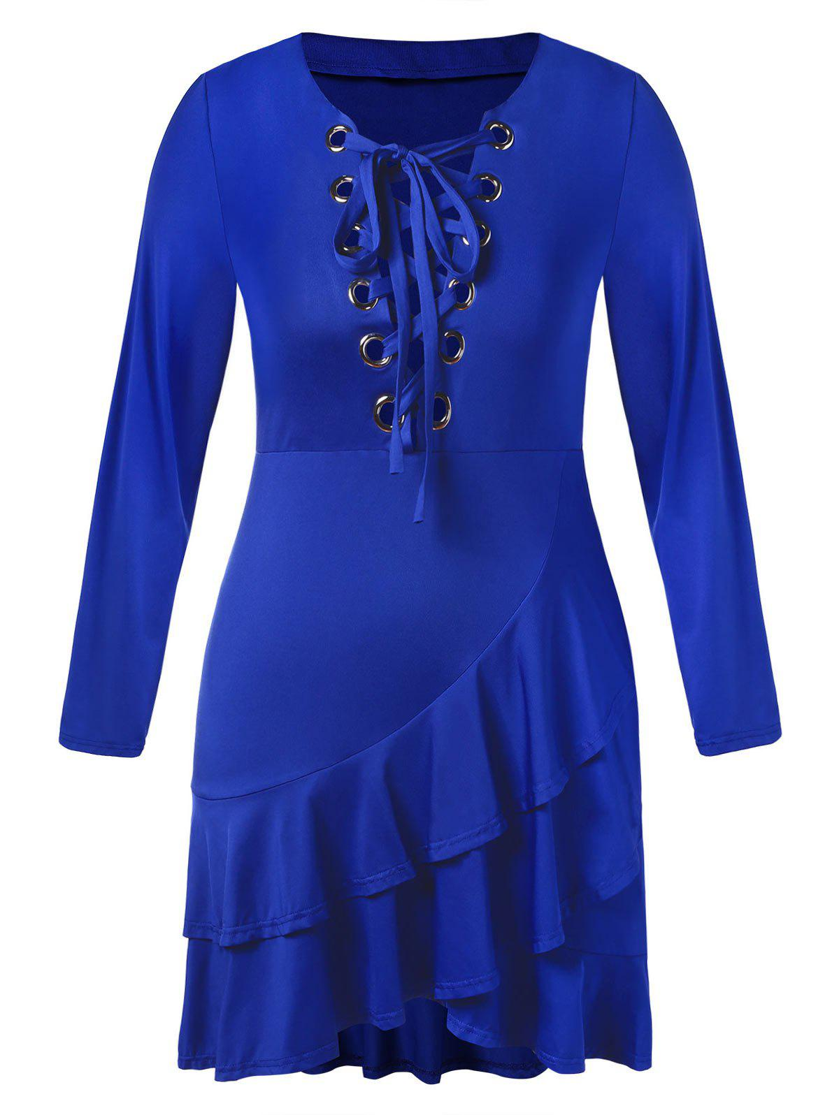 Plus Size Layered Ruffle Hem Lace Up Midi Dress