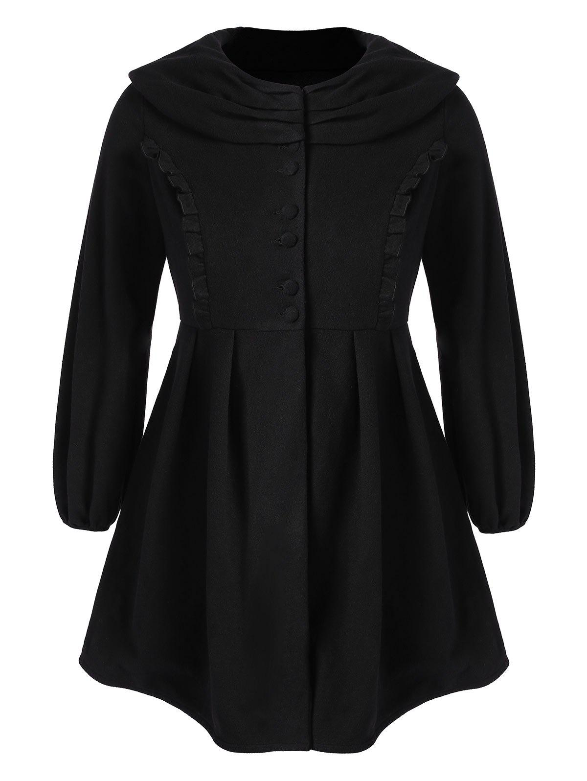 Plus Size Ruffle Wool Skirted Coat