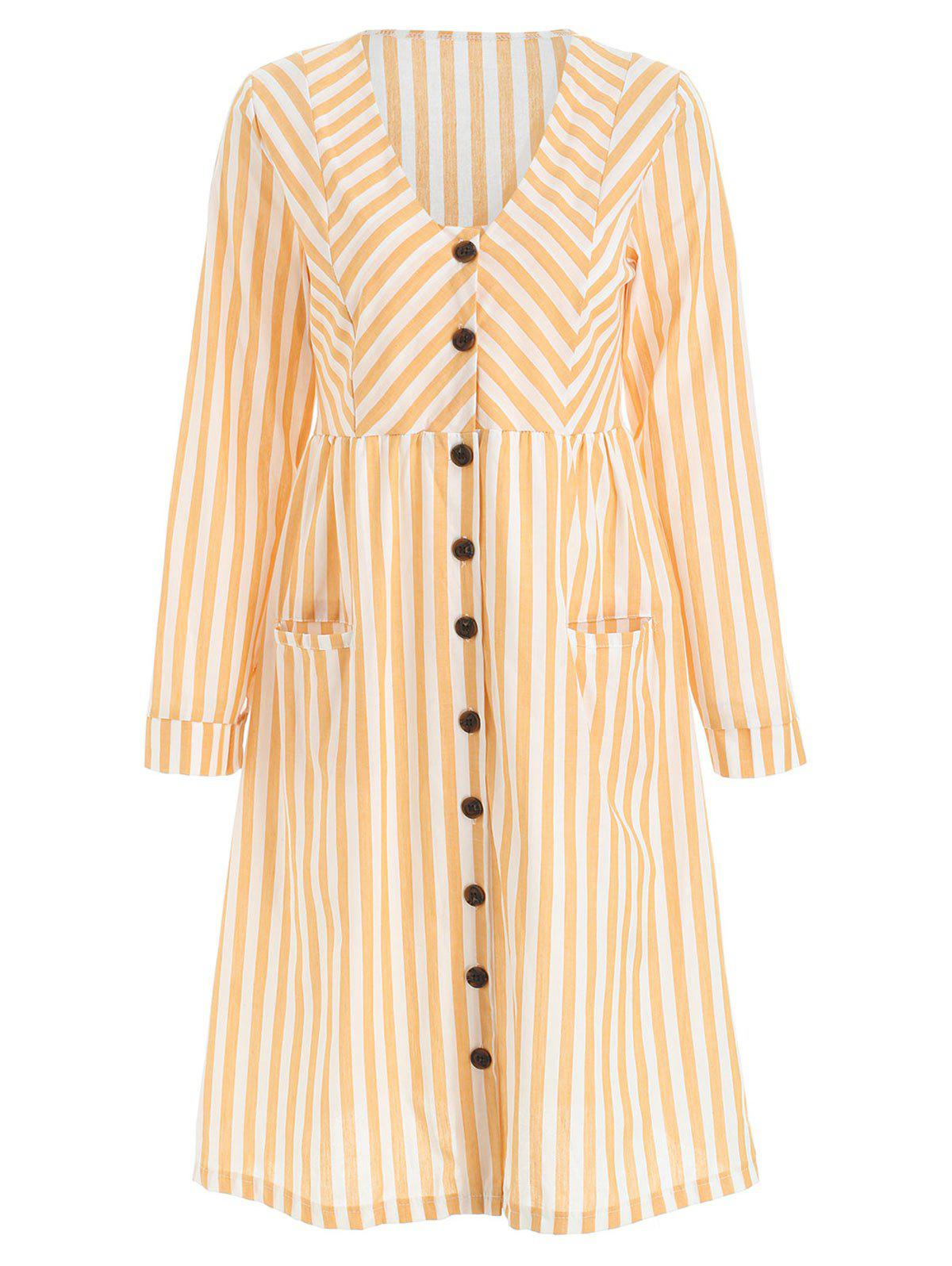Long Sleeve High Waist Buttoned Stripe Dress - BRIGHT YELLOW XL