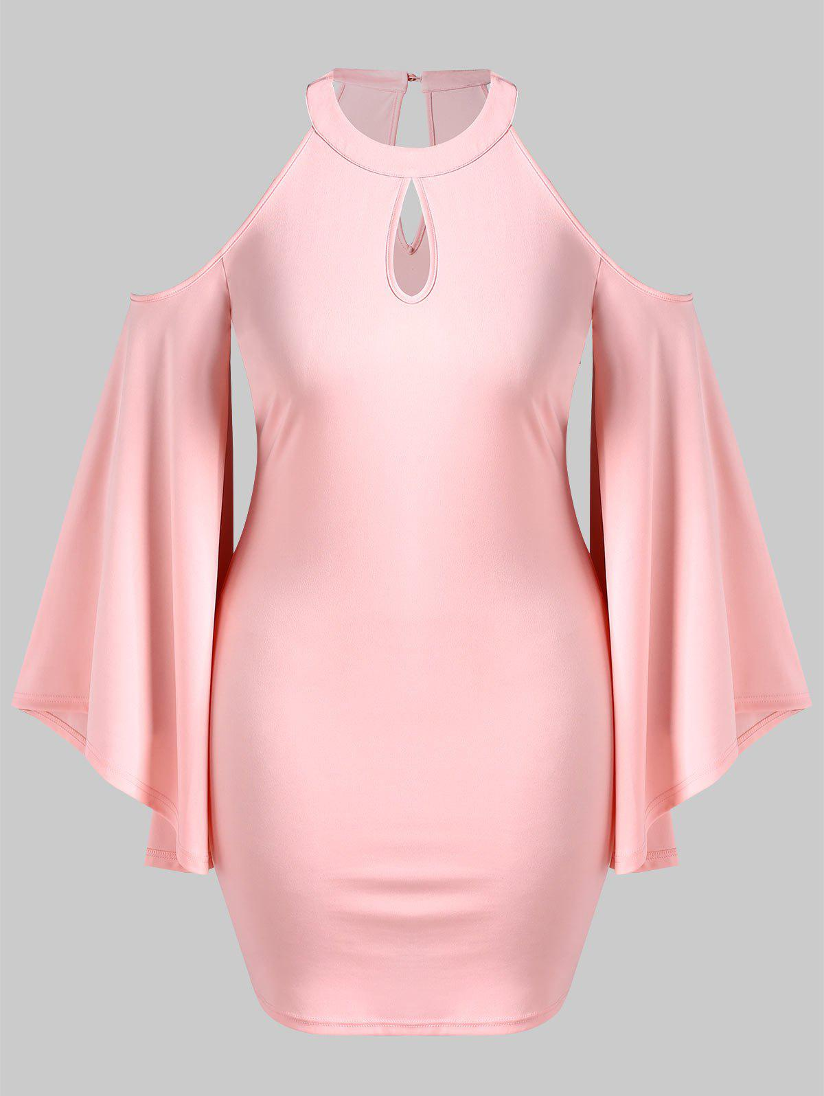 Flare Sleeve Plus Size Keyhole Neck Bodycon Dress - PINK L