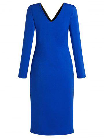 Back Zipper Long Sleeve Up Plus Size Dress