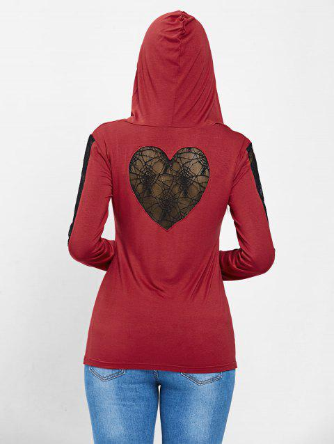 Spider Lace Long Sleeve Halloween Hooded T-shirt - RED L